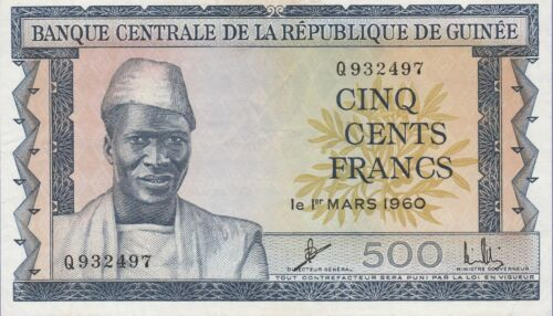 Guinea 500 Francs Banknote 1.3.1960 Extra Fine Condition Cat#14-A-2497