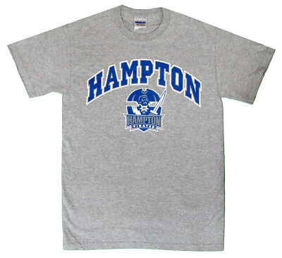 (Arched Hampton University Grey T-Shirt with Pirate Logo HU New Cool Official T)
