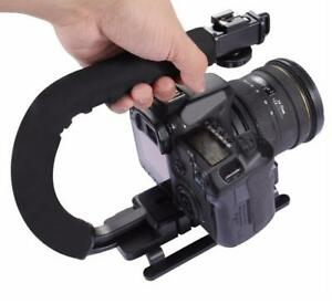 U-shaped Triple Shoe Mount Handheld Stabilizer for Canon Nikon Sony Panasonic Pentax Olympus DSLR Camera Camcorder DV