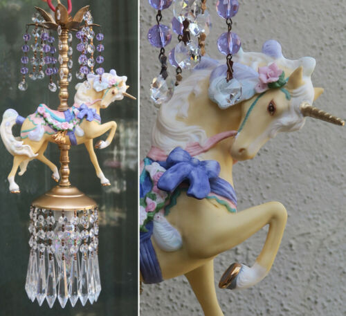 Porcelain Carousel Unicorn Lamp ceiling Chandelier Vintage Horse Crystal purple