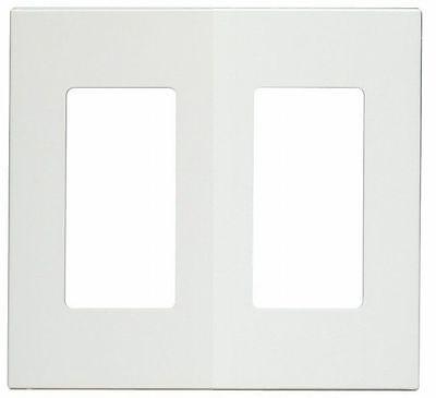 (Leviton 80309-SW 2-Gang Decora Plus Screwless Snap-On Wallplate, White)