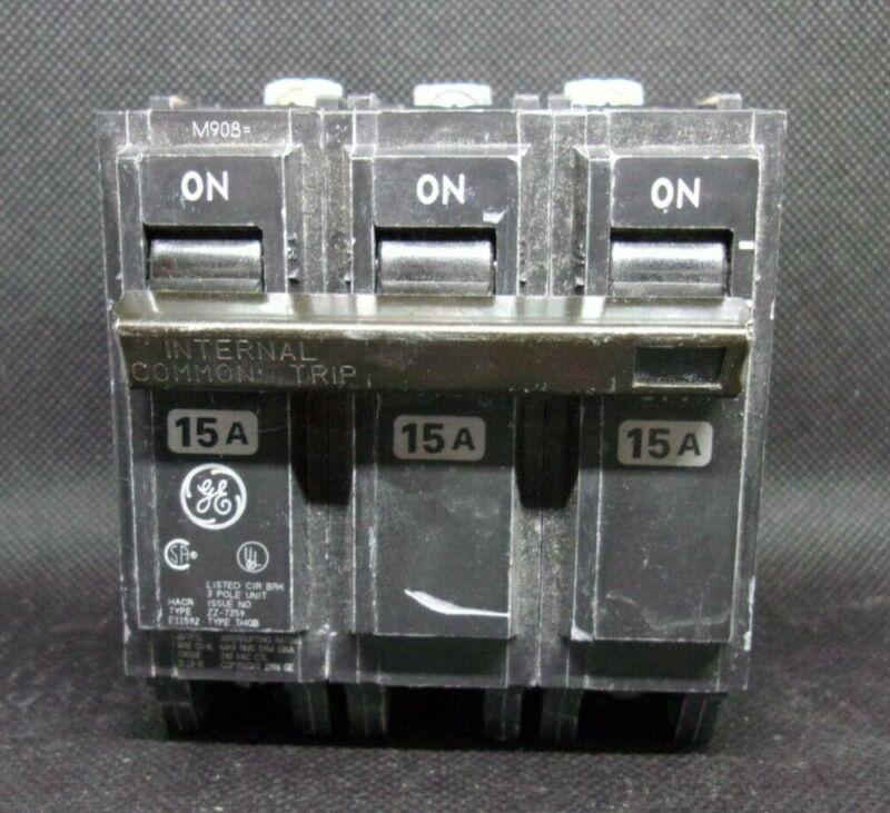 GE THQB THQB32015 3 POLE 15 AMP 240V CIRCUIT BREAKER OLD STYLE *LOT OF 2*