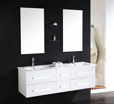 Luxus doppel Waschtisch Set hochglanz Armatur Waschbecken Serpia W Unterschrank