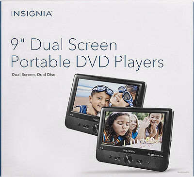 "Insignia 9"" Dual Screen Portable LCD DVD Car Players NS-DS9PDVD15 Black"