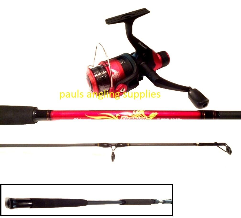 Shakespeare firebird 8 ft red black spinning fishing rod for Red fishing rod