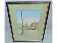 ORIGINAL ART EUROPEAN WATERCOLOUR PAINTING EUROPE TOWN CITY MARKET SQUARE LARGE FRAMED PICTURE