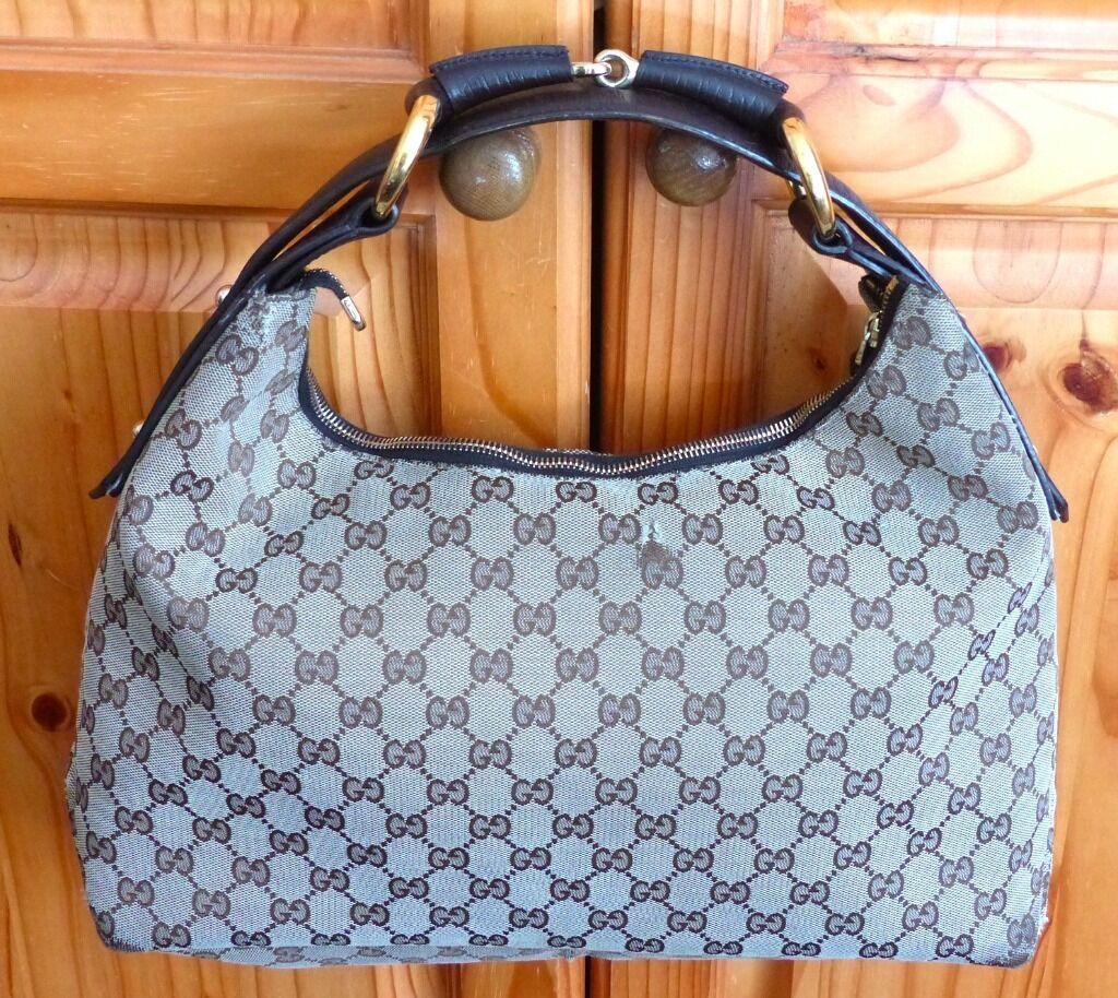 42a279b0291 Genuine Gucci Beige Brown GG Canvas Large Horsebit Hobo Handbag Shoulder Bag  PayPal   Post OK