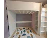 Loft bed with wardrobe and desk