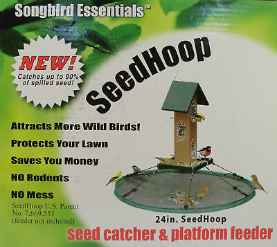 "Wild Bird Seed Feeder 24"" HOOP CATCHER PLATFORM for Hanging Pole or Post Mount"