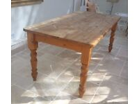 SOLID PINE FAMILY KITCHEN DINING TABLE FARMHOUSE 6FT
