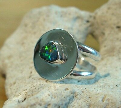 Opal Ring Silber 925 Größe flexibel Doppelband Spirale Designerring neu wow R42 (Doppel-band Silber Ring)