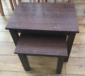 Lovely Dark Brown Nest of 2 Tables