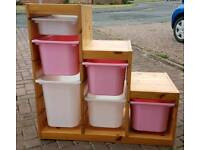 Ikea storage with trofast boxes