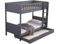 Imperfect Panana Wooden Bunk Bed Frame | Large Storage Drawer, Ladder & Safety Rail | Grey
