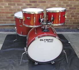 PREMIER OLYMPIC Vintage 1970's Drum Kit Shell Pack In Military Red