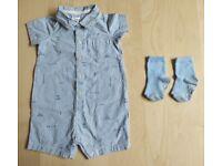 2 Piece Carter's Schiffli Striped Print Baby Clothes Bundle Set 12-18 Months