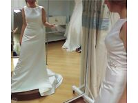 Beautiful Satin Wedding Dress with Waistline Embellishment- Size 8/10