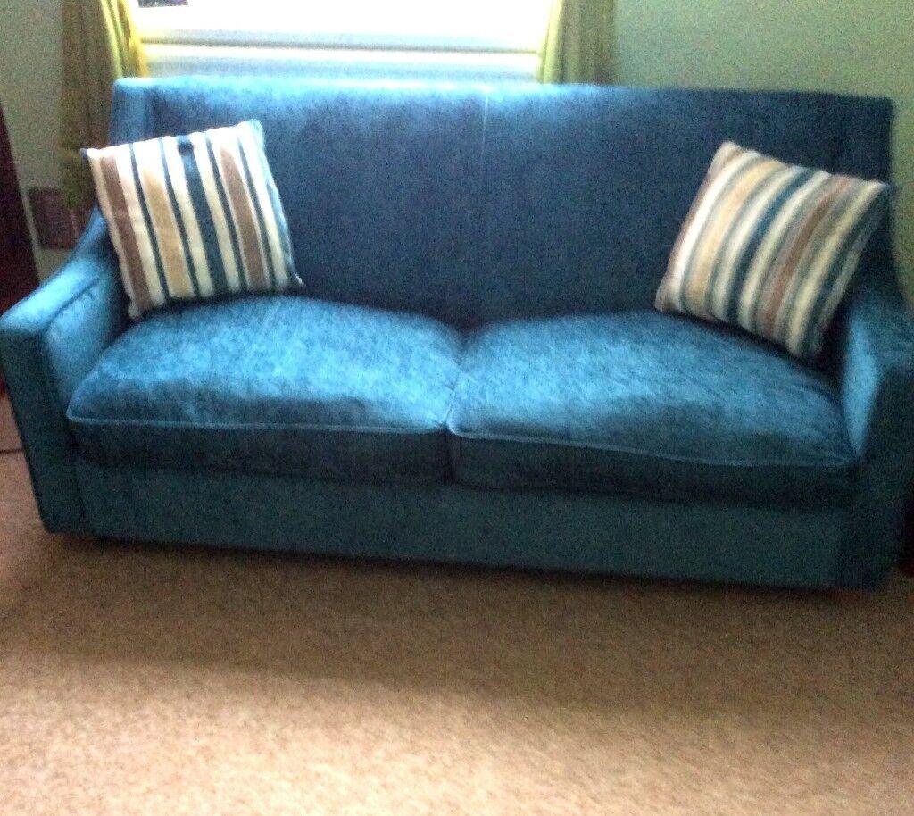 Dfs Rachel 3 Seater Blue Sofa Bed Excellent Condition