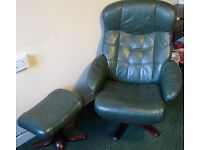 LEATHER SWIVEL ARMCHAIR WITH LEATHER FOOT STOOL