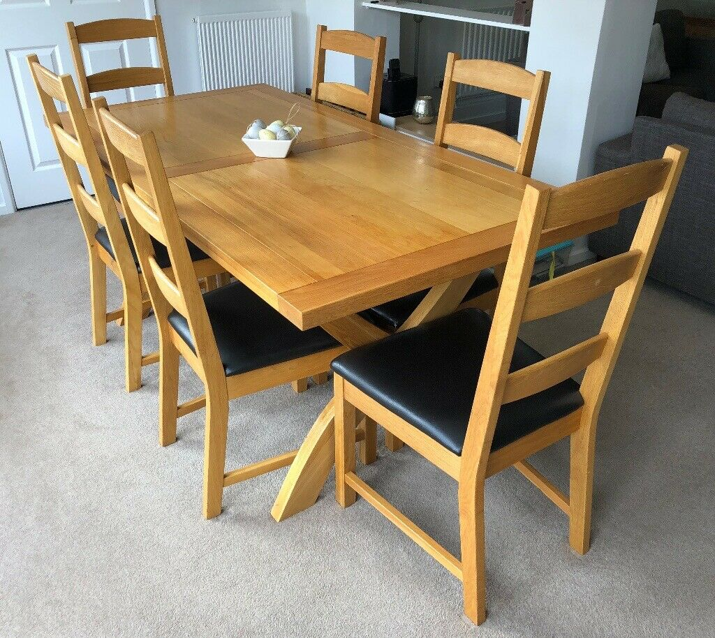 John Lewis 6ft Solid Oak Dining Table And 6 High Back Brown Leather Chairs In Earley Berkshire Gumtree