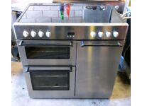 Belling DB4 90E Fan Assisted Electric Triple Oven Range Cooker With Ceramic Hob