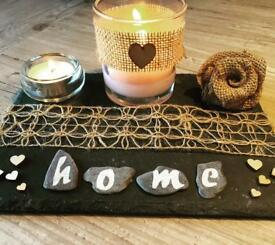 Handmade candle trays on beautiful slate