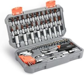 58-Piece Socket Wrench Set 1/4 inch, Mechanical Tool Set with 72-Tooth Reversible Ratchet
