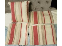 4 New Cushion Covers in Laura Ashley Awning Stripe Lichen/Raspberry