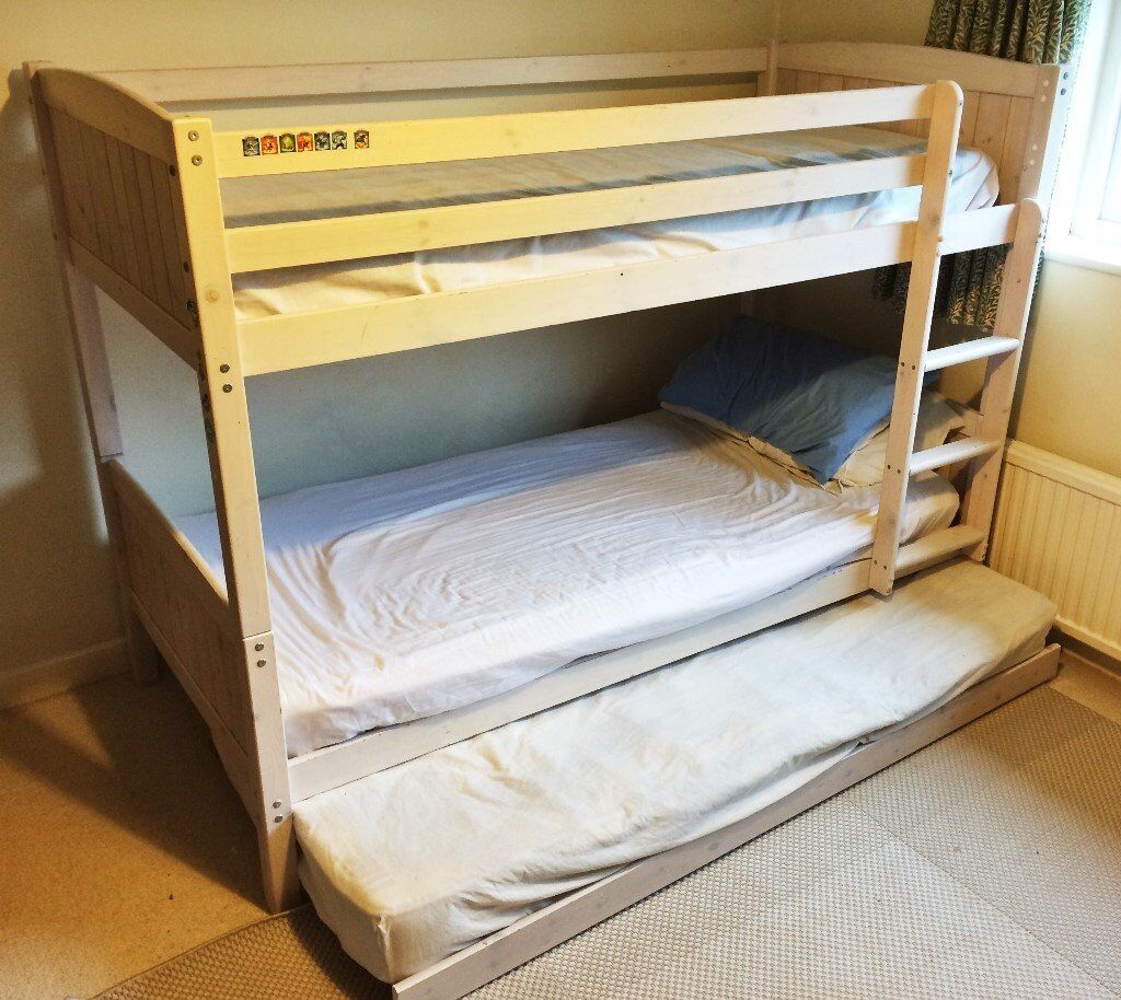 Great Kids White Pine Bunk Bed W Trundle Pull Out Single Bunkbed