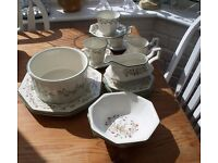 LOT OF ETERNAL BEAU CHINA INCLUDING LARGE SOUFFLE BOWL, CUPS & SAUCERS, TEA PLATES, GRAVY BOAT ETC