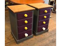 Pair Of Painted Pine Bedside Chests
