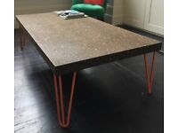 Bespoke Coffee Table with Cork Top and Hairpin Legs