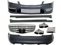 Mercedes Benz W221 AMG Complete Body Kit Fits 2005 to 12 Bumper Side Skirts Front Grill Tailpipes
