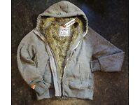 SUPERDRY Ladies Warm Grey Zip up Hoodie Jacket Size M Faux Fur Lining *BRAND NEW RRP £89*