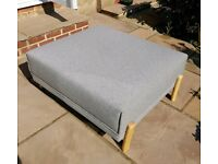 Footstool Magnus from MADE Ottoman Rest Grey Fabric Seat Modern Furniture