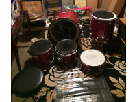 Pacific RED 5 piece drum kit with cymbals