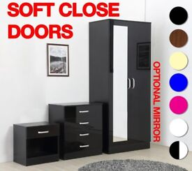 BRAND NEW HIGH GLOSS 3 PIECE BEDROOM FURNITURE SET- WARDROBE+CHEST OF DRAWERS+BEDSIDE*FREE DELIVERY*