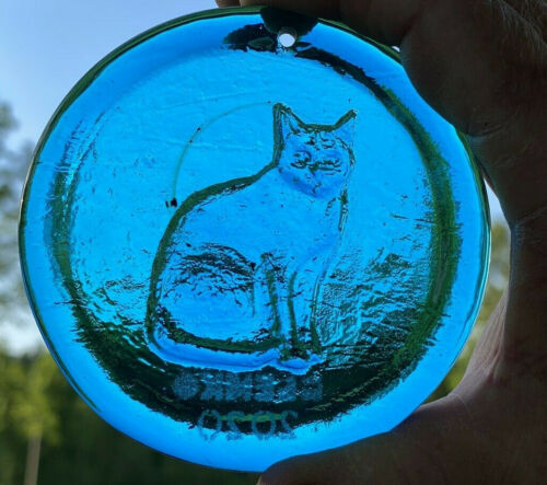 Blenko Glass Suncatcher - Cat - Turquoise