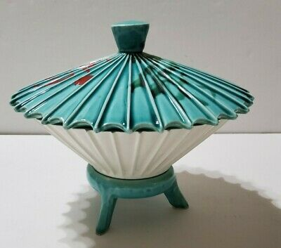Vintage Enesco Oriental Umbrella Candy Dish in Black White with Red Green ceramic