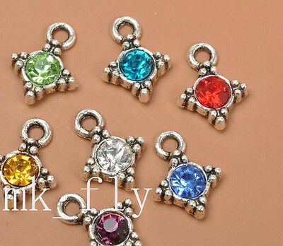 20pcs tibetan silver mix color charms rhinestone  pendants pendant 17x13mm