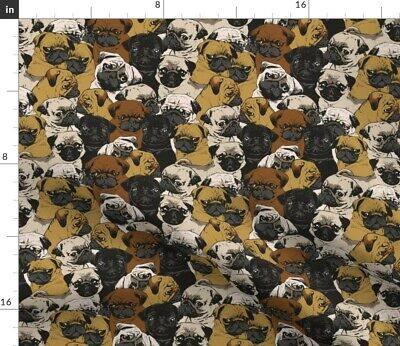 Pug Faces Portrait Illustration Puppy Love Dog Fabric Printed by Spoonflower BTY