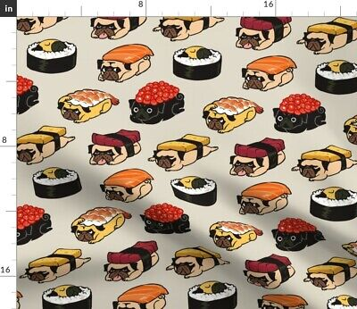 Sushi Pug Dog Breed Japanese Food Red Beige Fabric Printed by Spoonflower BTY