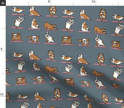 Bulldog Yogi English Kawaii Pet Lover'S Yoga Fabric Printed by Spoonflower BTY