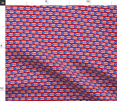 Puerto Rico Flag Boricua Country Striped Fabric Printed by Spoonflower BTY