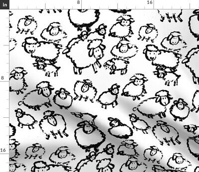 Black Sheep Rebel Lamb Lambs White Animals Fabric Printed by Spoonflower BTY