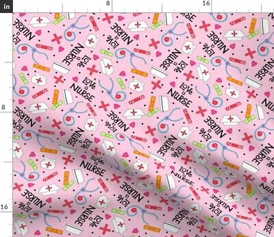 Nursing Professional Nurse Appreciation Words Fabric Printed by Spoonflower BTY