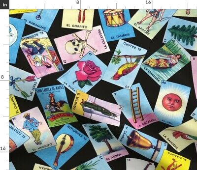 Loteria Mexican Mexico Cards Tarot Fabric Printed by Spoonflower BTY