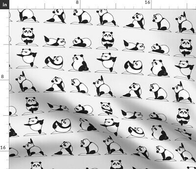 Panda Yoga Kawaii Animal Cartoon Positions Fabric Printed by Spoonflower BTY