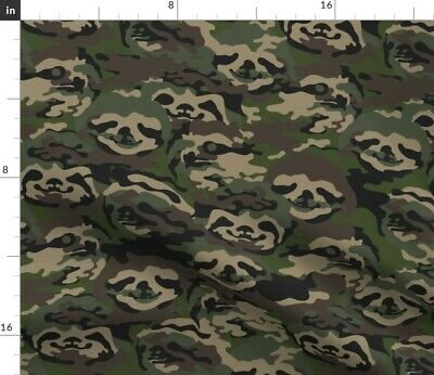 Camouflage Sloth Green And Brown Camo Animal Fabric Printed by Spoonflower BTY