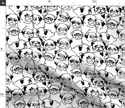 Pug Black And White Monochrome Puppy Love Fabric Printed by Spoonflower BTY
